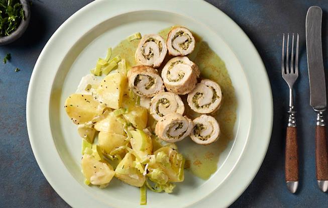 Bravčové roládky s krémovými zemiakmi s pórom