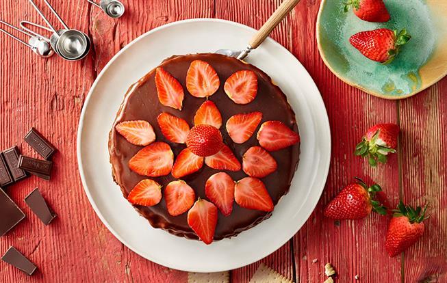 Tvarohový cheesecake s jahodami