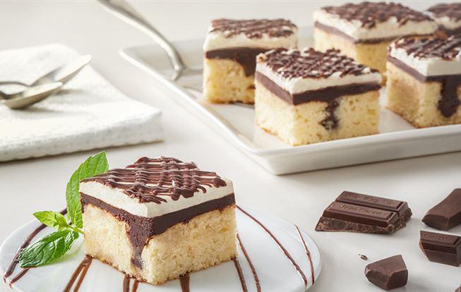 Koláč s čokoládou a tvarohovým krémom
