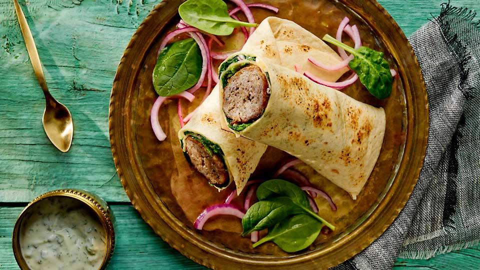 Wrapy s mletým mäsom a špenátom