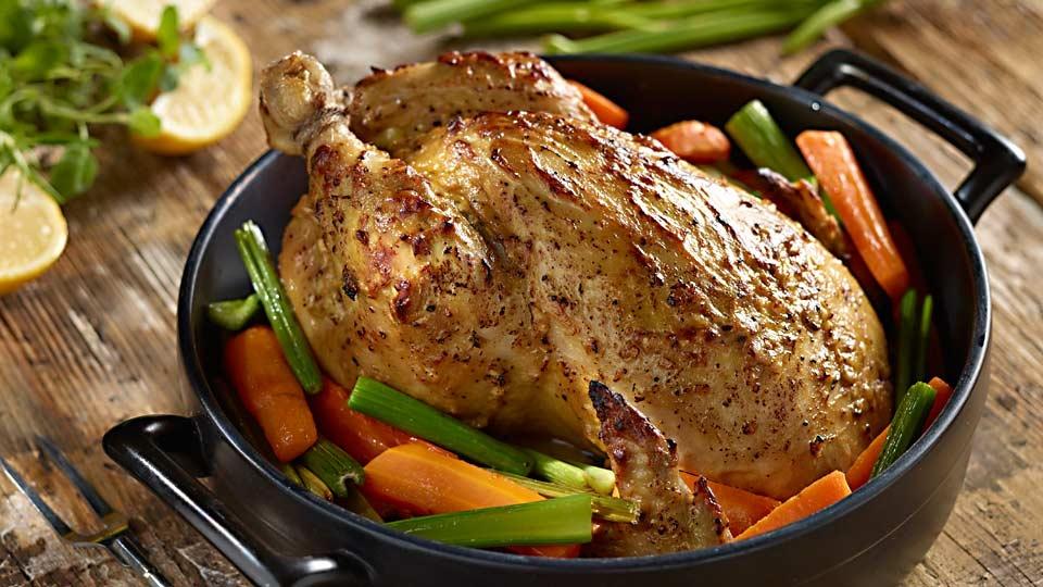 Kurča na horčici a pečenej zelenine