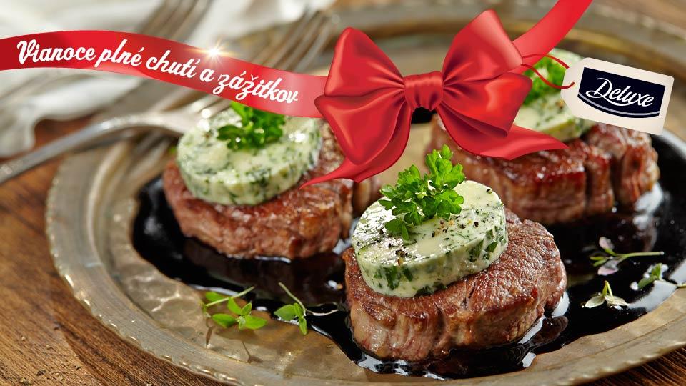 Steak z hovädzej sviečkovice s bylinkovým maslom a vínovou omáčkou