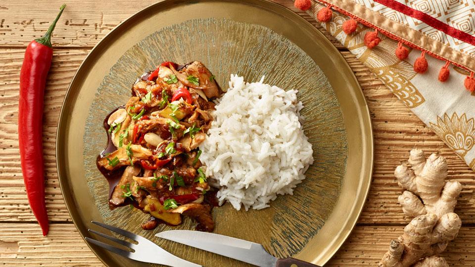 Pikantný králik s jazmínovou ryžou
