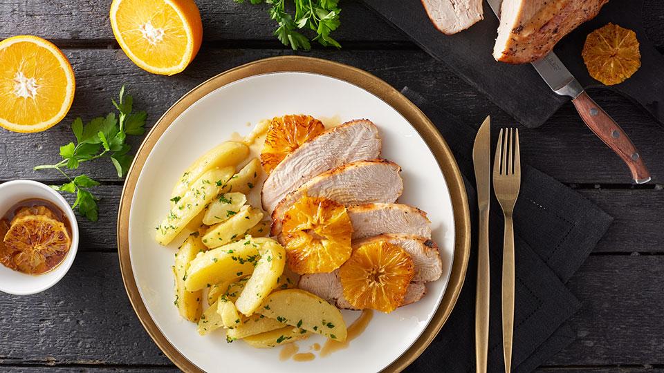 Pečené morčacie prsia s medom a pomarančom
