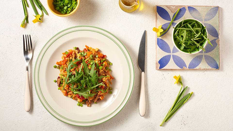 Zeleninové rizoto s kačacími stehnami