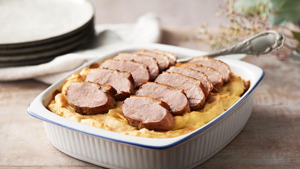 Zapečené kačacie ragú so zemiakovou kašou