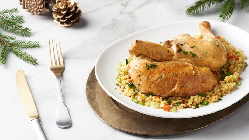 Pečené kurča s bylinkovým maslom a tarhoňou