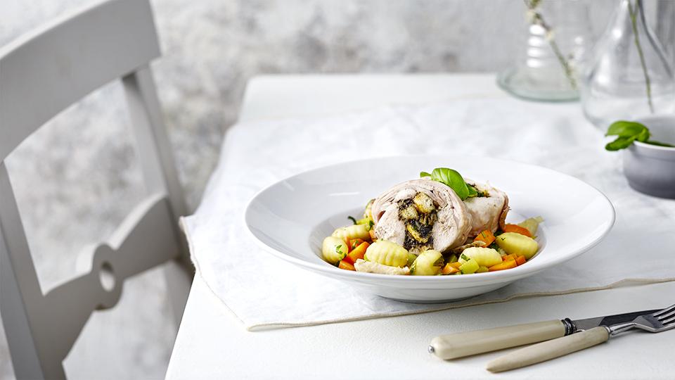 Zemiakové gnocchi s pečeným králikom
