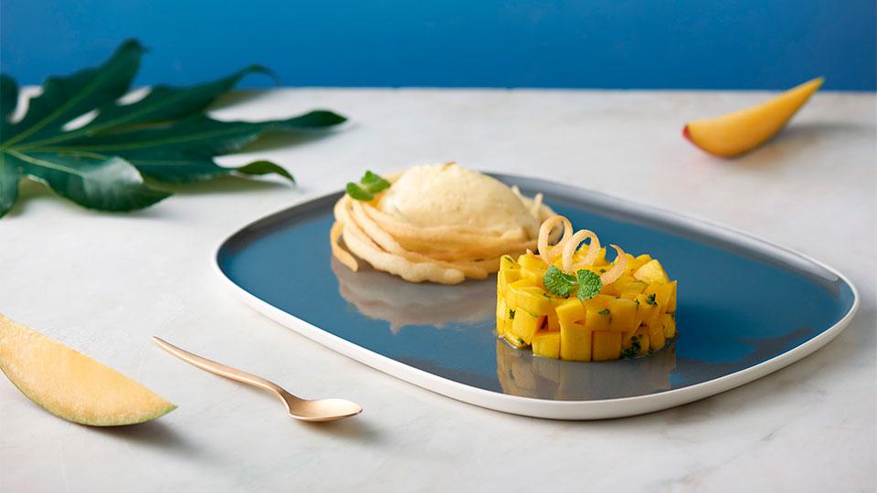 Mango tataráčik s limetkovou penou