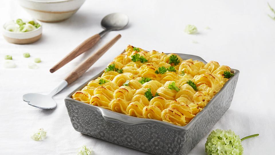 Morčacie stehno zapečené s pórom a zemiakovou kašou