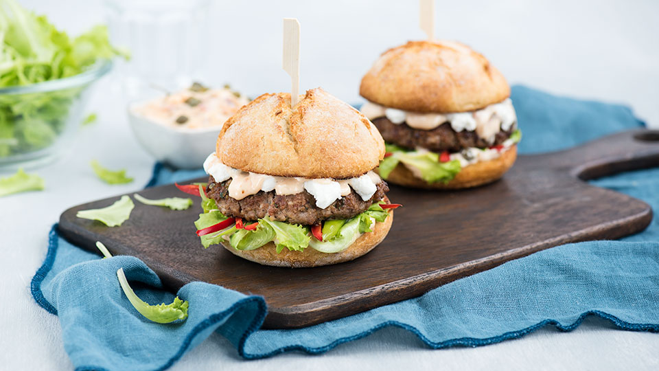Hamburger s kozím syrom