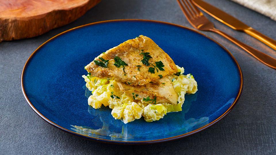 Zubáč so zemiakovo-pórovým ragú