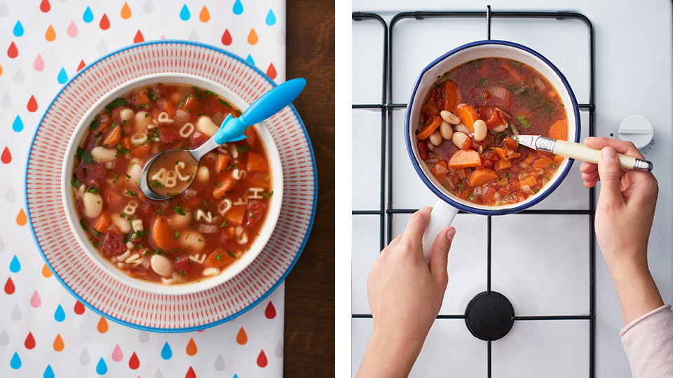 Písmenková polievka s fazuľou