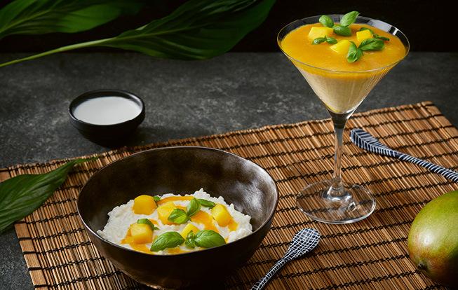 Ryžový puding s kokosovým mliekom a mangom