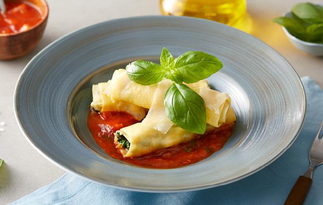 Špenátové cannelloni s paradajkovou omáčkou