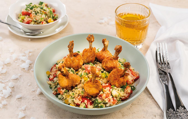 Chrumkavé kuracie krídla s quinoou a zeleninou