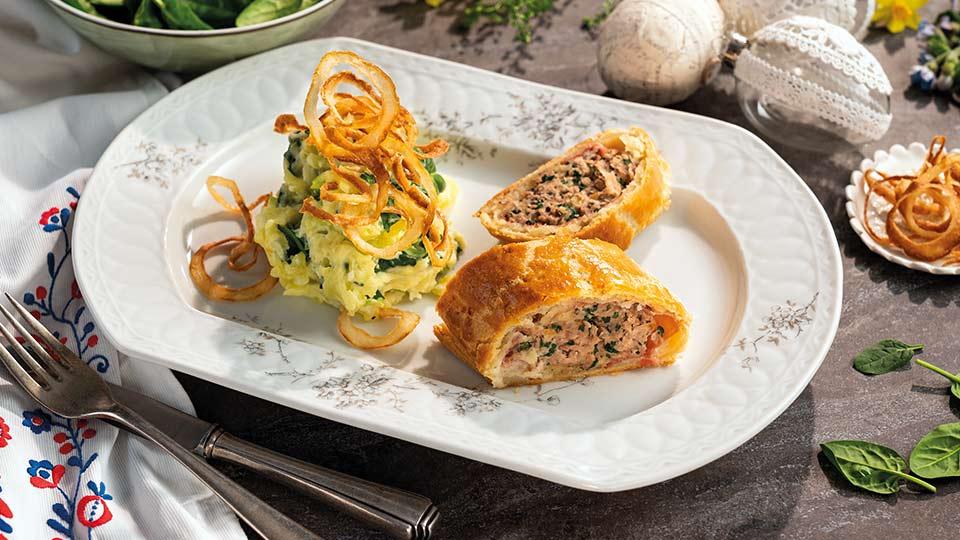 Jahňacia roláda so špenátom a plesňovým syrom